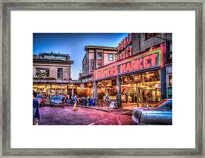 An Evening At Pike Place Market Framed Print