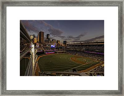 An Evening At Target Field Framed Print by Tom Gort
