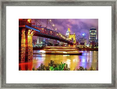 An Evening On The Ohio River - Cincinnati Ohio Framed Print