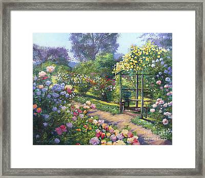 An Evening Rose Garden Framed Print by David Lloyd Glover