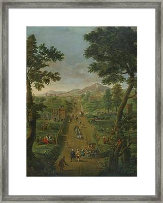 An Extensive Landscape With Carriages Framed Print by MotionAge Designs