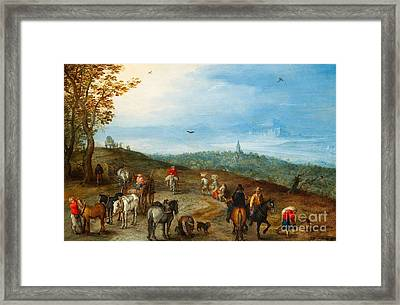 An Extensive Landscape With Travellers On A Road Framed Print by MotionAge Designs