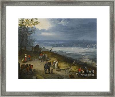An Extensive Wooded Landscape With Travelers Framed Print by Celestial Images
