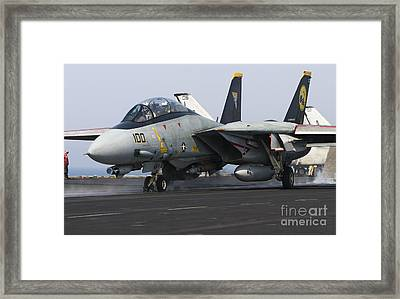 An F-14d Tomcat Launches Off The Flight Framed Print by Gert Kromhout
