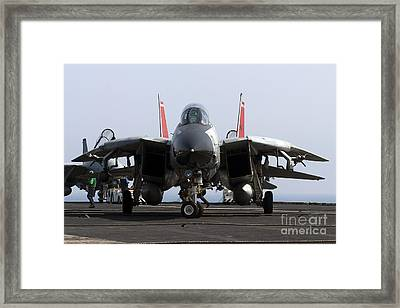 An F-14d Tomcat On The Flight Deck Framed Print by Gert Kromhout