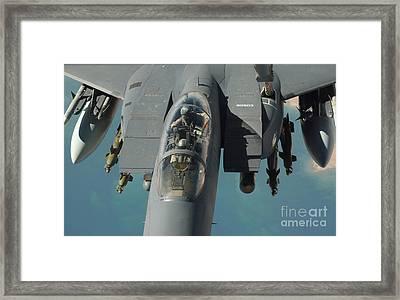 An F-15 Strike Eagle Prepares To Refuel Framed Print