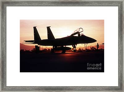 An F-15c Eagle Aircraft Silhouetted Framed Print by Stocktrek Images