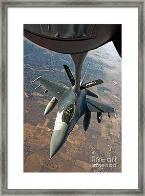 An F-16 Fighting Falcon Receiving Fuel Framed Print by Stocktrek Images