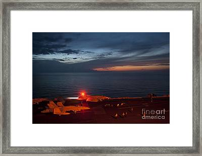 An F A-18 Launches Framed Print by Celestial Images