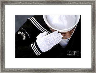 An Honor Guard Member Renders A Salute Framed Print by Stocktrek Images