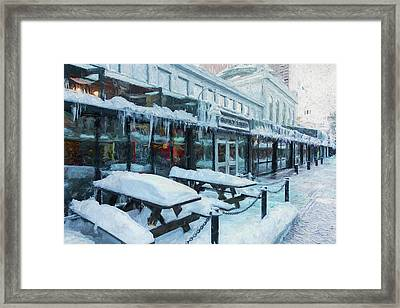 An Icy Quincy Market Framed Print