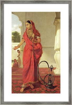 An Indian Dancing Girl With A Hookah Framed Print