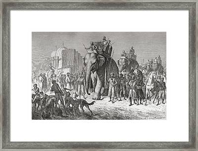 An Indian Hunting Party Riding Framed Print