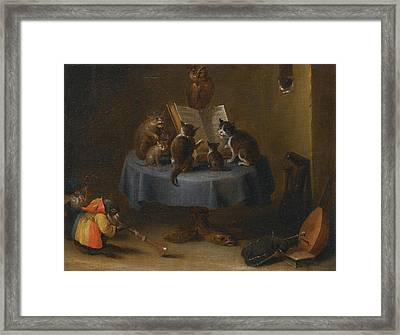 An Interior Scene With Cats Framed Print