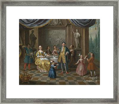 An Interior Scene With Figures Seated At A Table  Framed Print
