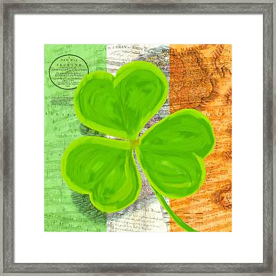 An Irish Shamrock Collage Framed Print by Mark Tisdale