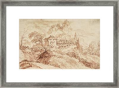 An Italian Village In A Mountainous Landscape Framed Print