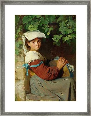 An Italian Woman With A Tambourine At A Window Framed Print by MotionAge Designs