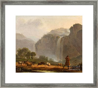 An Italianate Mountain Landscape With A Piping Goatherd Framed Print by MotionAge Designs