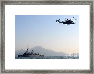 An Mh-53e Sea Dragon Helicopter Framed Print by Celestial Images