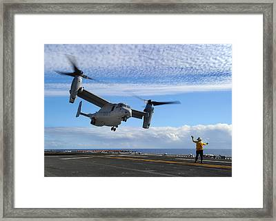 An Mv-22b Osprey Takes Off  Framed Print by Celestial Images