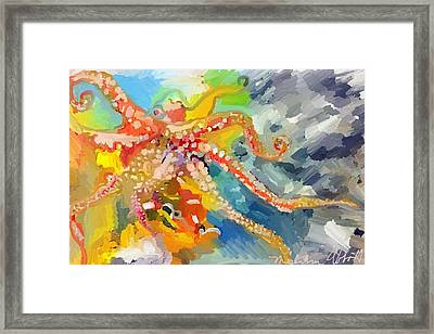 An Octopus Lunch Inspired This Painting Of An Octopus  Framed Print