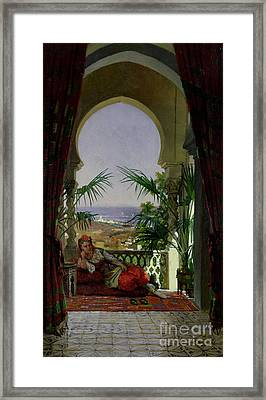 An Odalisque On A Terrace Framed Print by David Emil Joseph de Noter