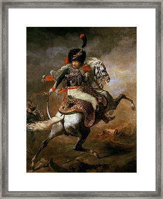 An Officer Of The Imperial Horse Guards Charging Framed Print by Theodore Gericault