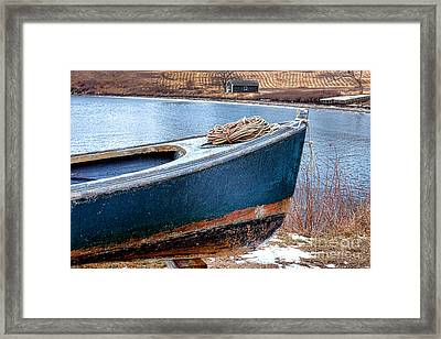 An Old Boat In Winter Framed Print by Olivier Le Queinec