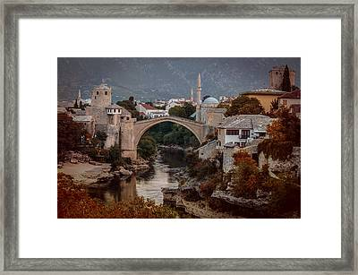 An Old Bridge In Mostar Framed Print by Jaroslaw Blaminsky