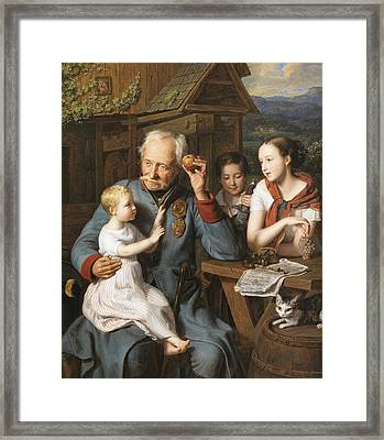 An Old Invalid With Three Children Framed Print