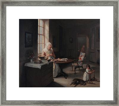 An Old Lady Reading By Candlelight Framed Print by MotionAge Designs