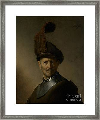 An Old Man In Military Costume By Rembrandt Harmensz. Van Rijn  Framed Print by Esoterica Art Agency