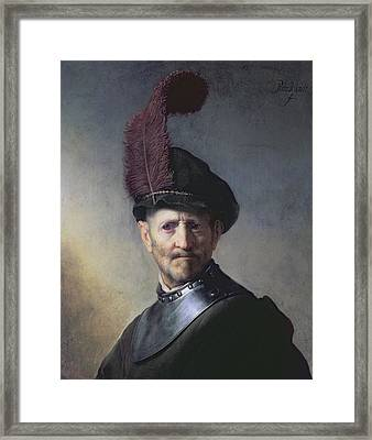 An Old Man In Military Costume Framed Print