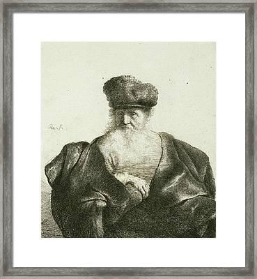 An Old Man With A Beard, Fur Cap, And Velvet Cloak Framed Print