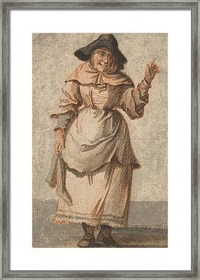 An Old Market Woman Grinning And Gesturing With Her Left Hand Framed Print
