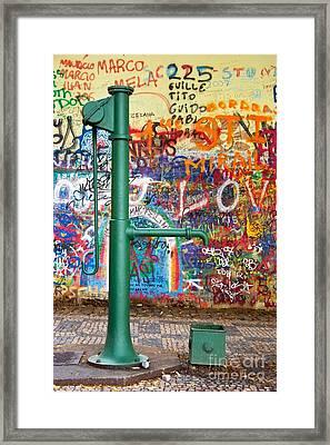 An Old Pump And Lennon Wall In Prague Framed Print by Hideaki Sakurai