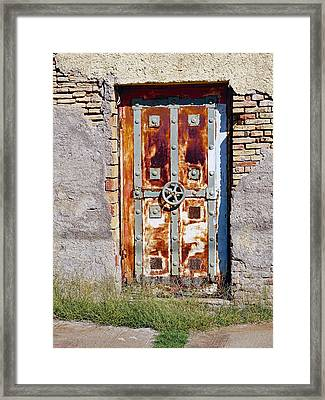 An Old Rusty Door In Katakolon Greece Framed Print