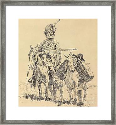 An Old Time Mountain Man With His Ponies Framed Print