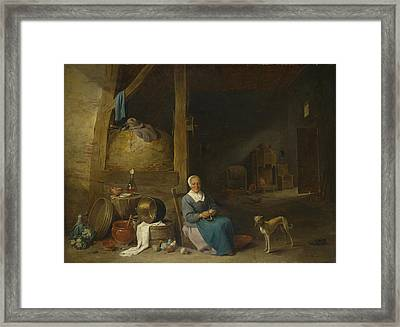 An Old Woman Peeling Pears Framed Print
