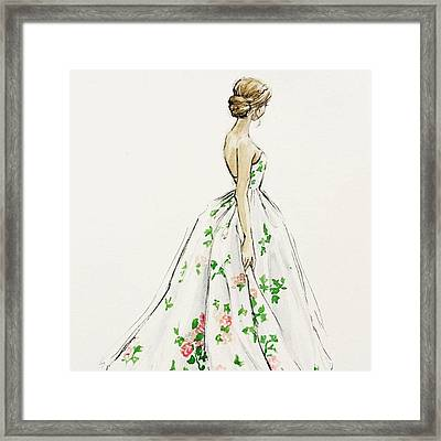 Dressed In White And Roses Framed Print