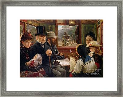 An Omnibus Ride To Piccadilly Circus, Mr Gladstone Travelling With Ordinary Passengers Framed Print by Alfred Morgan