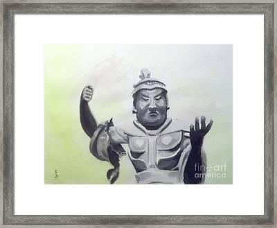 Framed Print featuring the painting An Oriental Statue At Toledo Art Museum - Ohio by Yoshiko Mishina