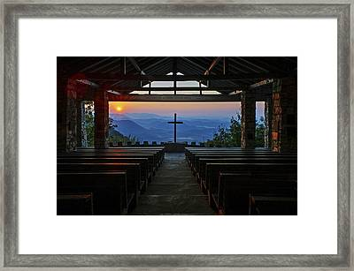 An Outdoor Mountain Chapel   Symmes Chapel Aka Pretty Place  Greenville Sc Framed Print