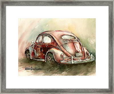 An Oval Window Bug In Deep Red Framed Print by Michael David Sorensen