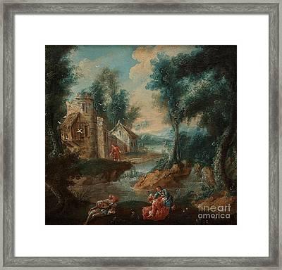An Overdoor With A Shephard Scene With Bird House Framed Print by Celestial Images