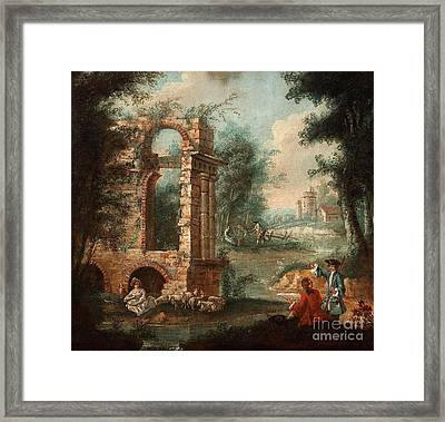 An Overdoor With A Shephard Scene With Ruin Framed Print by Celestial Images