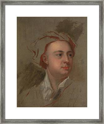 An Unfinished Study Of The Head Of James Thomson Framed Print by William Aikman
