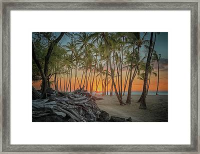 Anaehoomalu Beach Sunset Framed Print