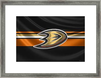 Anaheim Ducks - 3 D Badge Over Silk Flag Framed Print by Serge Averbukh